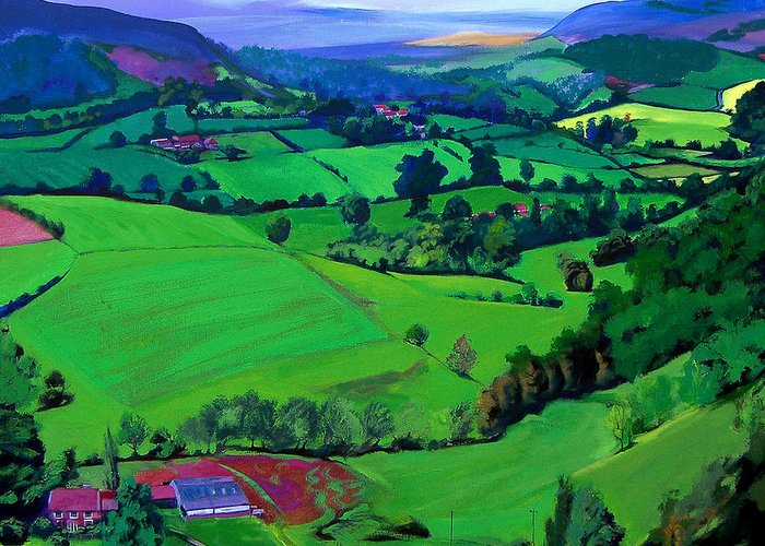 Scenic Greeting Card featuring the painting Dales Patchwork by Neil McBride