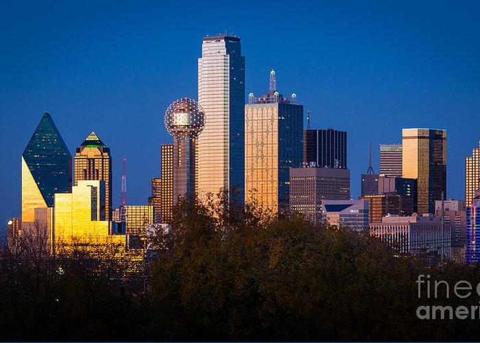 Dallas Greeting Card featuring the photograph Dallas Skyline by Inge Johnsson