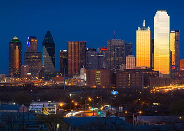 Dallas Greeting Card featuring the photograph Dallas Skyline Panorama by Inge Johnsson