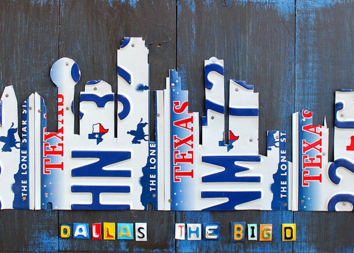 License Plate Map Greeting Card featuring the mixed media Dallas Texas Skyline License Plate Art By Design Turnpike by Design Turnpike