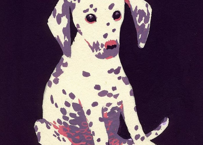 Dog Greeting Card featuring the painting Dalmatian Puppy by George Adamson