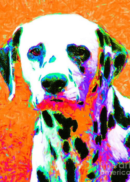 Animal Greeting Card featuring the photograph Dalmation Dog 20130125v2 by Wingsdomain Art and Photography