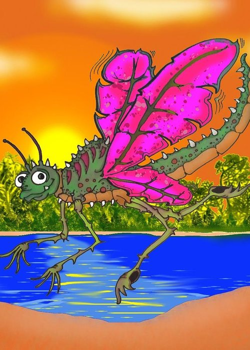 Dragonfly Greeting Card featuring the drawing Dameon The Dragonfly by Paul Calabrese