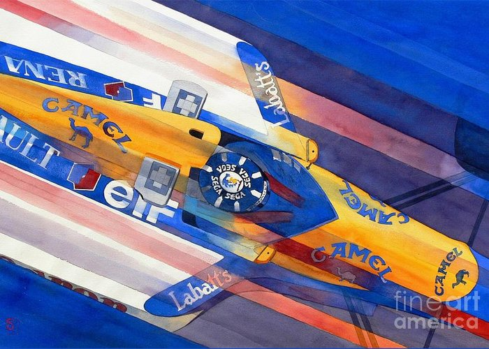 Watercolor Greeting Card featuring the painting Damon Hill by Robert Hooper