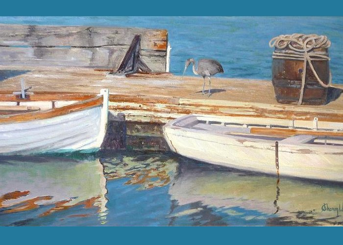 Dana Point Greeting Card featuring the painting Dana Point Harbor Boats by Sharon Weaver
