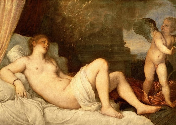 Nude Greeting Card featuring the painting Danae by Titian