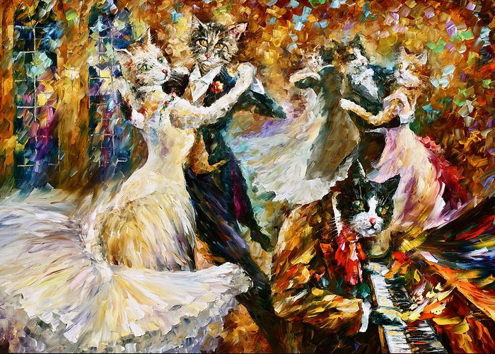 Cat Greeting Card featuring the painting Dance Ball Of Cats by Leonid Afremov