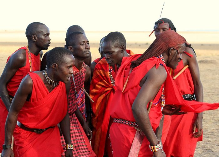 Maasai Greeting Card featuring the photograph Dance Of The Maasai by Sue Long