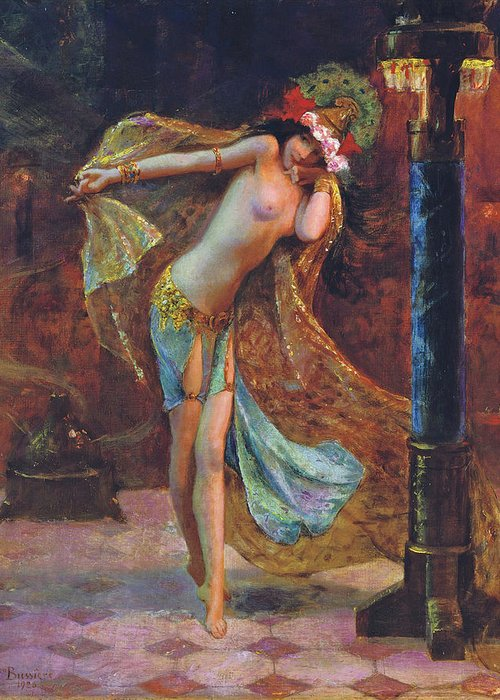 Gaston Bussiere Greeting Card featuring the digital art Dance Of The Veils by Gaston Bussiere