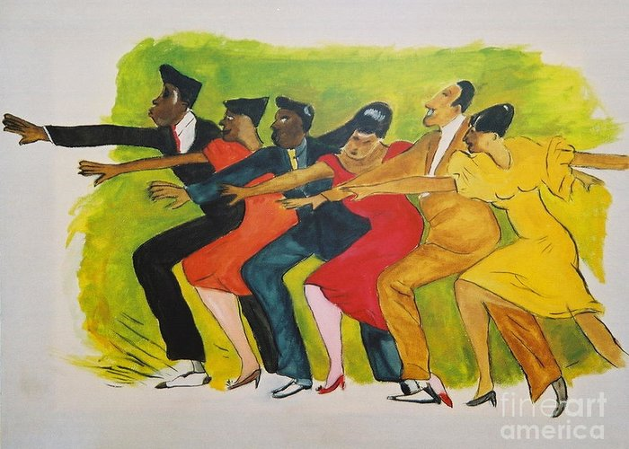 Dances From The 30's Greeting Card featuring the mixed media Dance Series1 0f 8-Shim Sham Shimmy by JackieO Kelley