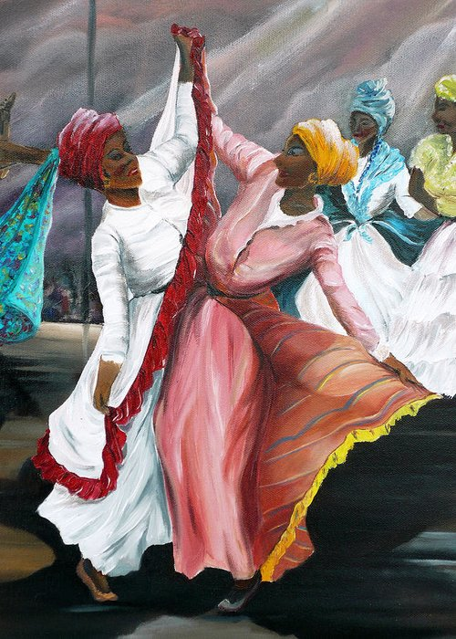 Dancers Folk Caribbean Women Painting Dance Painting Tropical Dance Painting Greeting Card featuring the painting Dance The Pique 2 by Karin Dawn Kelshall- Best
