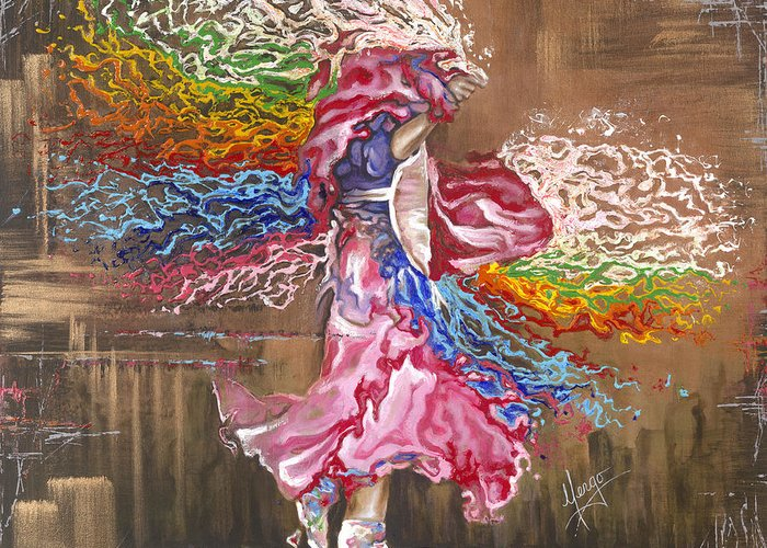 American Indian Greeting Card featuring the painting Dance Through The Color Of Life by Karina Llergo