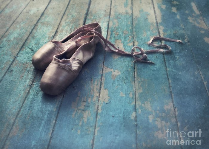 Pointe Shoe Greeting Card featuring the photograph Danced by Priska Wettstein