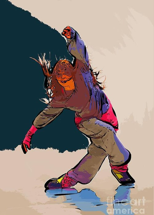 Dance Greeting Card featuring the digital art Dancer 35 by College Town