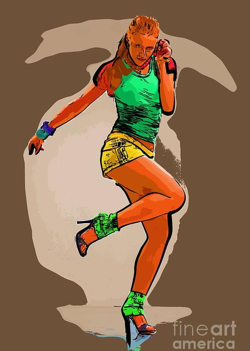 Dance Greeting Card featuring the digital art Dancer 44 by College Town