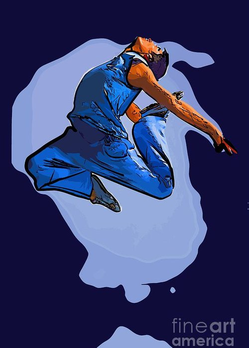 Dance Greeting Card featuring the digital art Dancer 56 by College Town