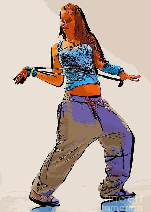 Dance Greeting Card featuring the digital art Dancer 66 by College Town