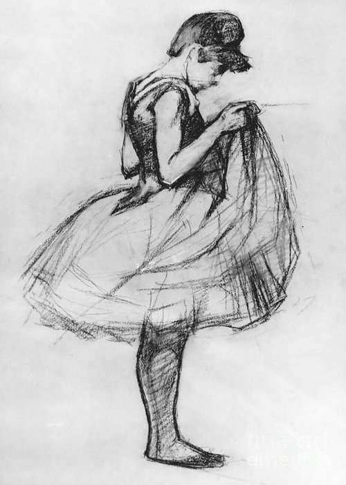 Ballet Greeting Card featuring the drawing Dancer Adjusting Her Costume And Hitching Up Her Skirt by Henri de Toulouse-Lautrec