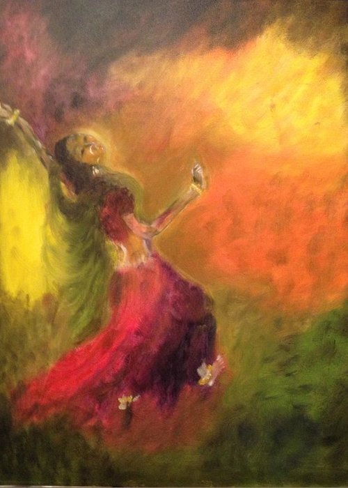 Indian Dancer Greeting Card featuring the painting Dancer by Brindha Naveen