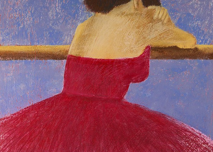 Pastel Greeting Card featuring the painting Dancer In The Red Dress by David Patterson
