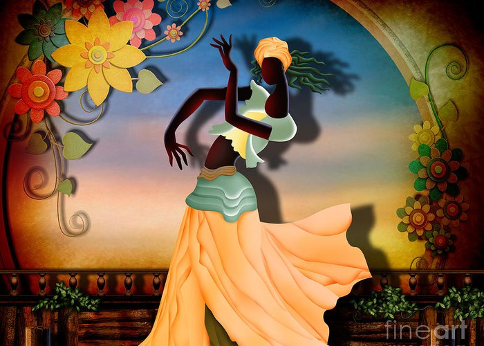 Digital Greeting Card featuring the digital art Dancer Of The Balcony by Bedros Awak