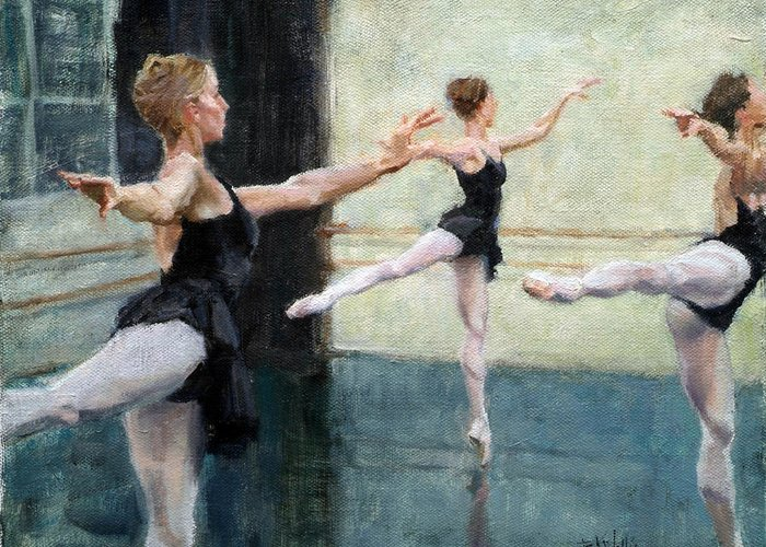 Wallis Greeting Card featuring the painting Dancers At Work by Eric Wallis