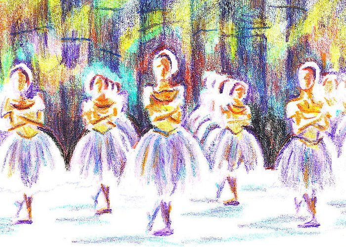 Dancers In The Forest Ii Greeting Card featuring the painting Dancers In The Forest II by Kip DeVore