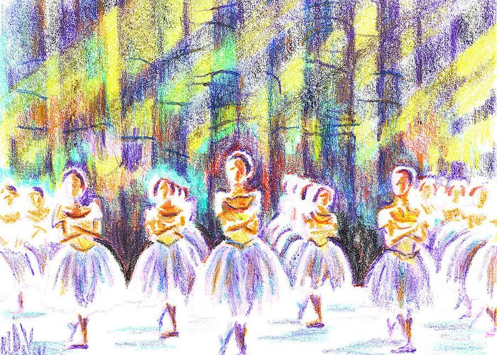 Kipdevore Greeting Card featuring the painting Dancers In The Forest by Kip DeVore
