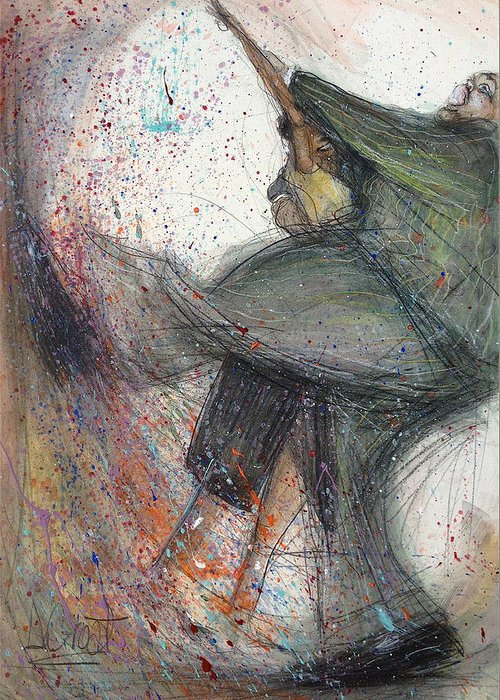 Dancing Greeting Card featuring the painting Dancin' Up A Storm by Gregory DeGroat