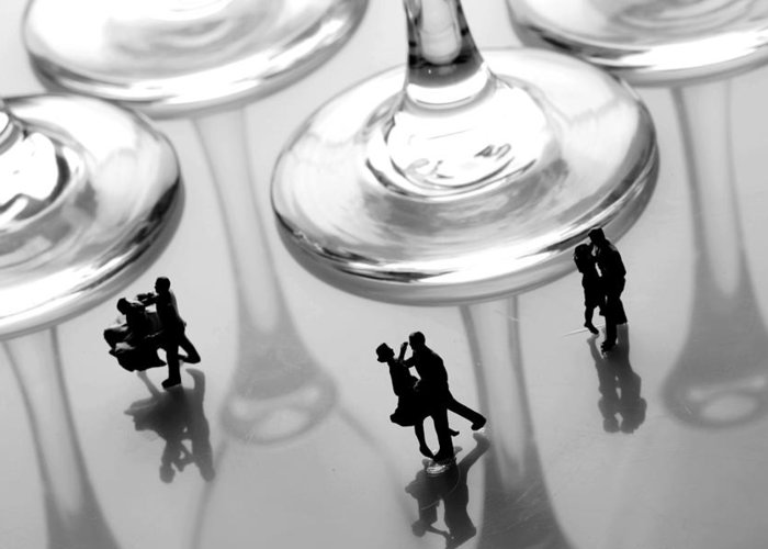 Black And White Greeting Card featuring the painting Dancing Among Glass Cups by Paul Ge