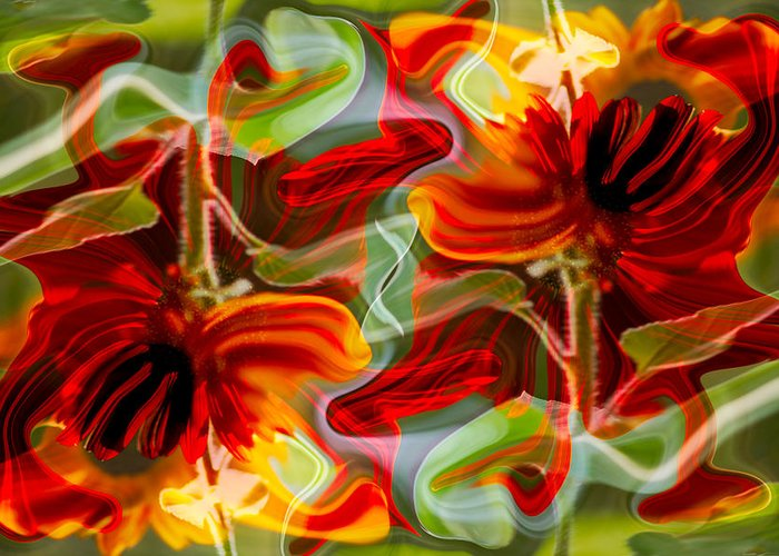 Abstract Greeting Card featuring the painting Dancing Flowers by Omaste Witkowski