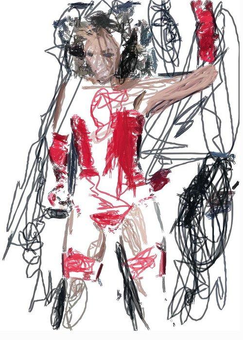 Greeting Card featuring the digital art Dancing Girl by Danny Ceunen
