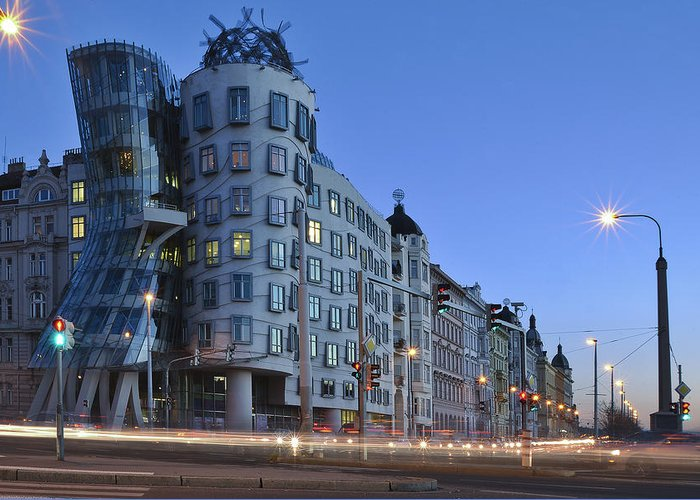 Prague Greeting Card featuring the photograph Dancing House by Luca Battistella
