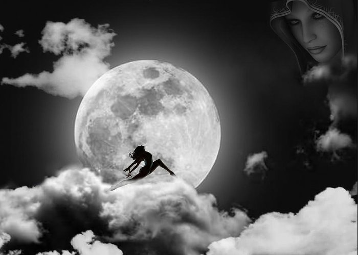 Moon Greeting Card featuring the digital art Dancing In The Moonlight by Alex Hardie
