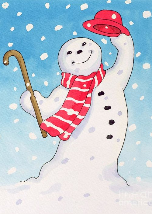 Christmas Greeting Card featuring the painting Dancing Snowman by Lavinia Hamer