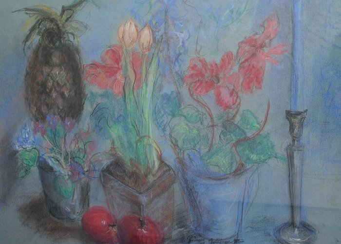 Pastel Greeting Card featuring the pastel Dancing Still Life In Pastel by Patricia Kimsey Bollinger