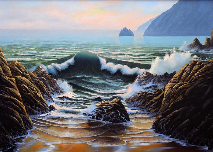 Seascape Greeting Card featuring the painting Dancing Tide by Frank Wilson