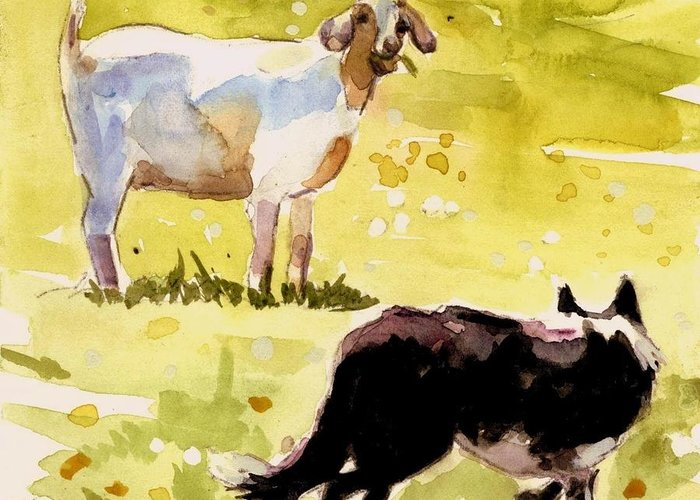 Goat Greeting Card featuring the painting Dandelion Greens by Molly Poole