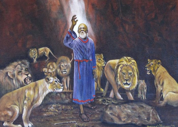 Daniel In The Lions Den; Lions; Animals; Rock; Bible; Biblical; Religion; Old Testiment; Greeting Card featuring the painting Daniel by Howard Stroman