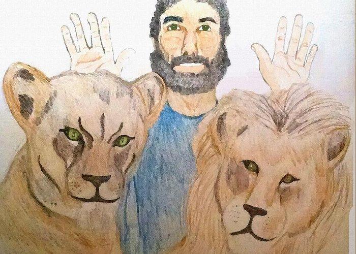 Daniel In The Lions' Den Greeting Card featuring the painting Daniel in the Lions' Den by Pharris Art