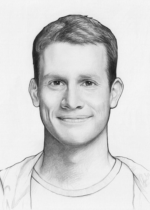 Graphite Pencil Greeting Card featuring the drawing Daniel Tosh by Olga Shvartsur