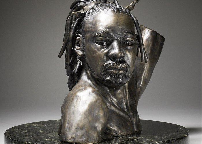 Original Figurative Sculpture Greeting Card featuring the sculpture Danseur Royal by Eduardo Gomez