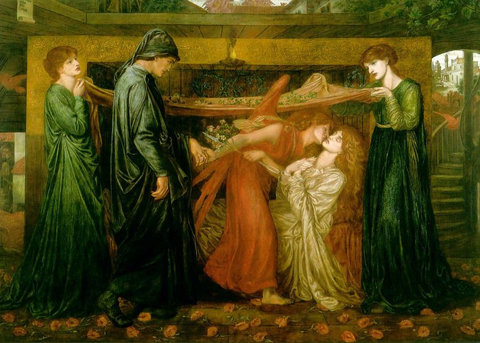 Dante Greeting Card featuring the painting Dantes Dream At The Time Of The Death Of Beatrice 1856 by Philip Ralley