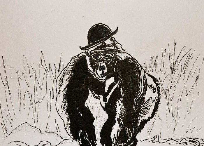 Gorilla Greeting Card featuring the drawing Dapper by Beverley Harper Tinsley
