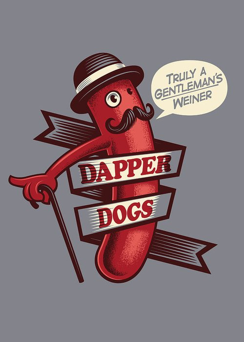 Walking Cane Greeting Card featuring the digital art Dapperdogs by Leonryan.com