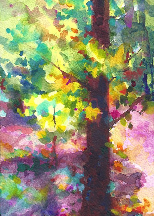 Tree Greeting Card featuring the painting Dappled - Light Through Tree Canopy by Talya Johnson