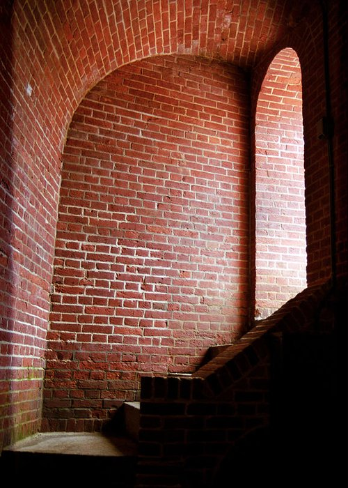 Alcove Greeting Card featuring the photograph Dark Brick Passageway by Frank Romeo