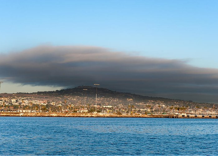 Cloud Greeting Card featuring the photograph Dark Cloud Over Oceanfront Land by Joe Belanger