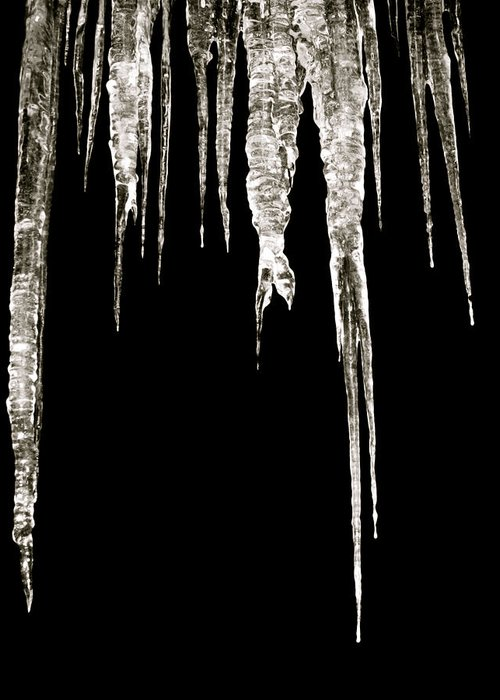 Icicle Greeting Card featuring the photograph Dark Ice by Azthet Photography
