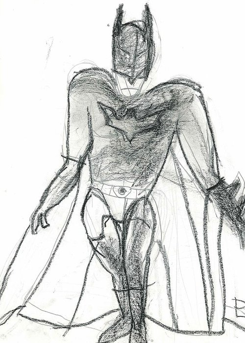 Dark Knight Greeting Card featuring the drawing Dark Knight by Fred Hanna
